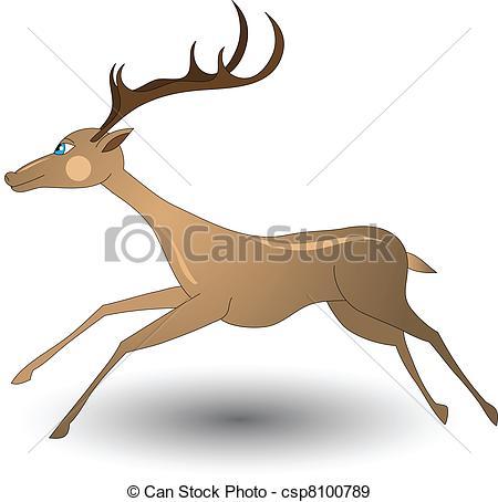450x454 Christmas Running Deer Illustration Fully Editable No Flatten