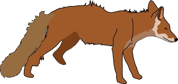 600x284 Running Fox Drawing Free Vector Download