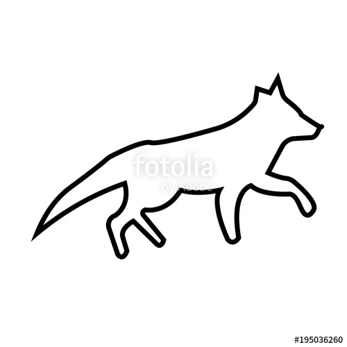 500x500 Running Fox Silhouette Outline On White Background Stock Image