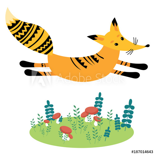 500x500 A Cartoon Fox Running Through The Forest Stylized Fox In A Jump