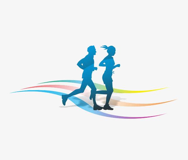 600x511 Men And Women Running On The Track, Cartoon Hand Drawing, Run