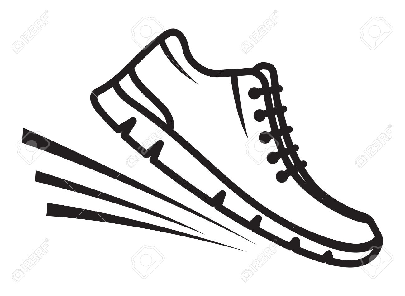 1300x950 Track Running Shoes Outline Clip Art