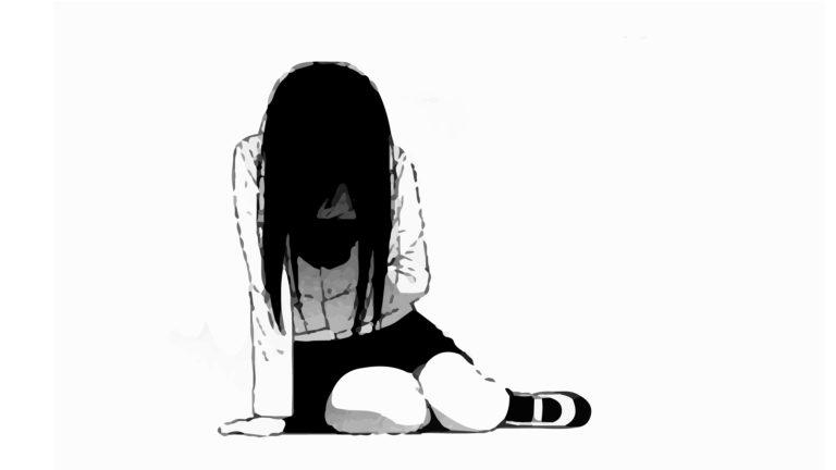 768x432 Black Wallpaper In Drawing Alone Girl Depressed Sad Anime Girl