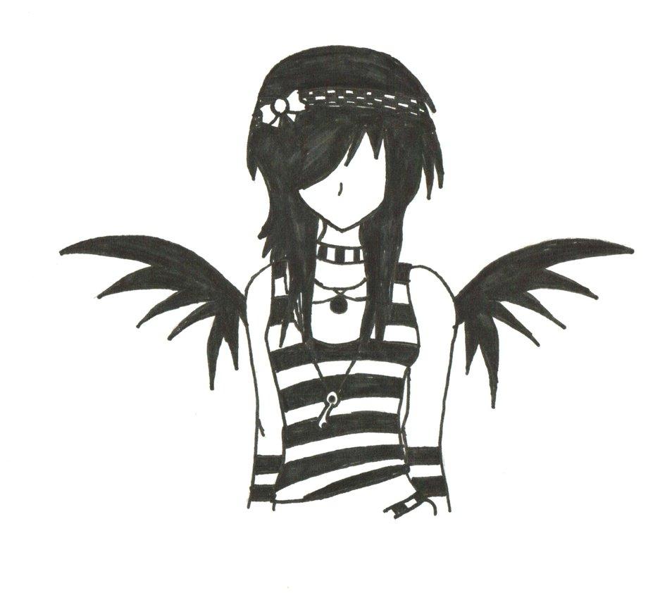 937x852 Dark Angel Clipart Easy Emo Drawing