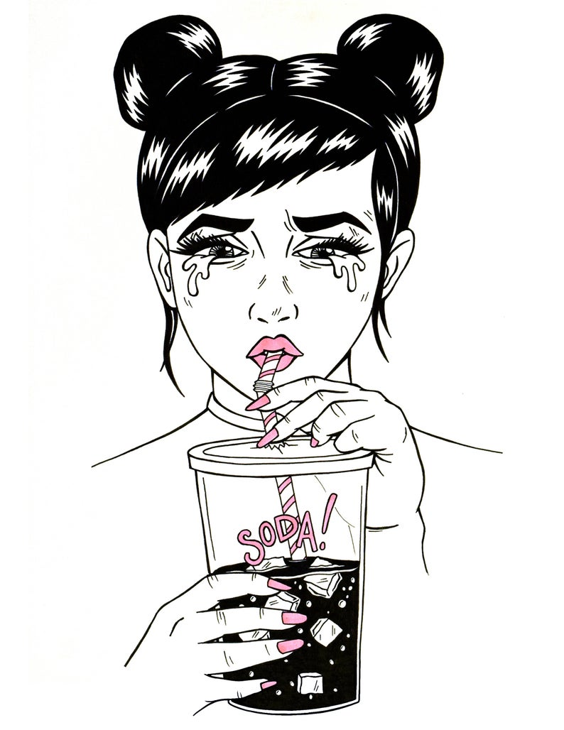 794x1028 Sad Girls Drink Soda Print Etsy