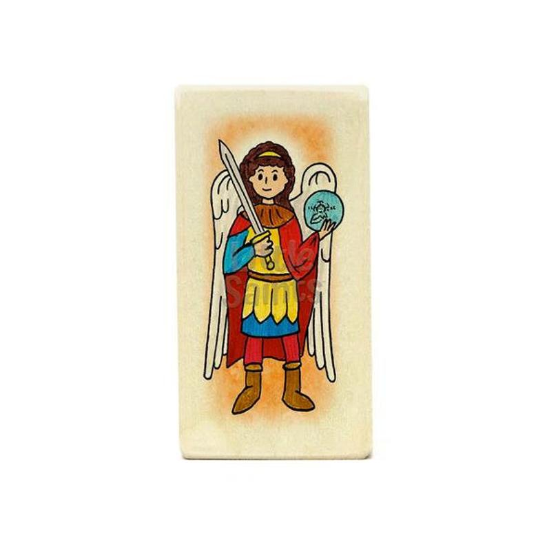794x794 saint michael the archangel patron saint wooden block toy etsy