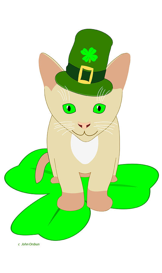 534x900 St Patrick's Day Cat Drawing