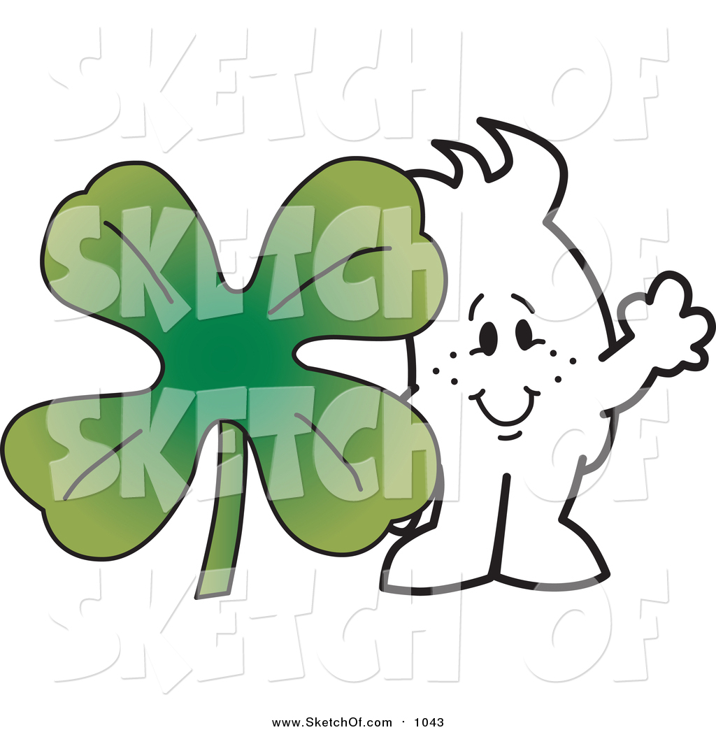 1024x1044 Drawing Of A Sketched St Patricks Day Squiggle Guy With A Clover