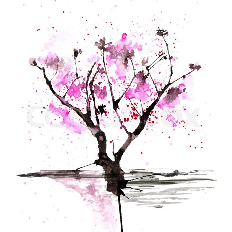 800x800 Sakura Tree In Japanese Painting Style Stock Image Colourbox