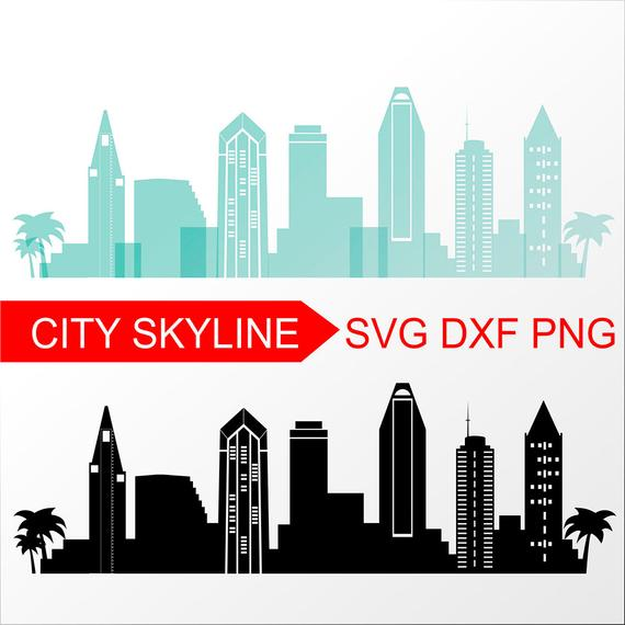 570x570 san diego vector skyline san diego silhouette dxf etsy
