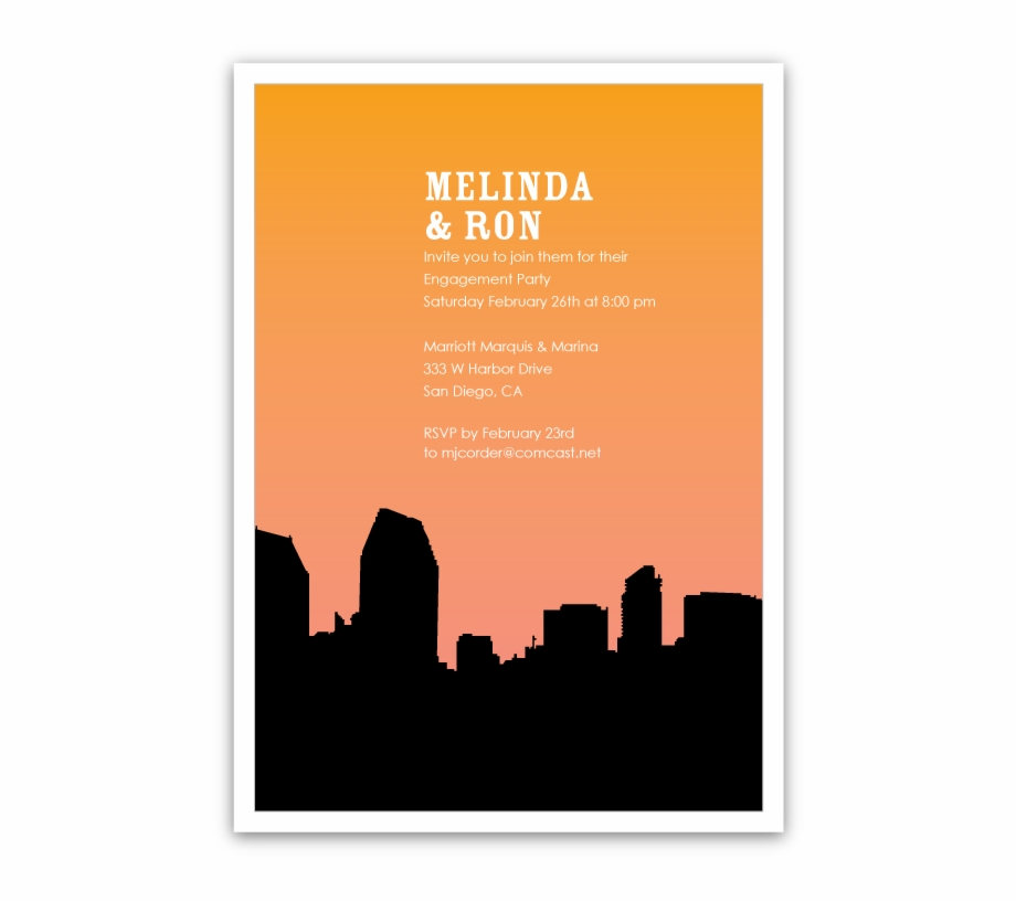 920x817 San Diego Skyline Silhouette Party Invitations Ian
