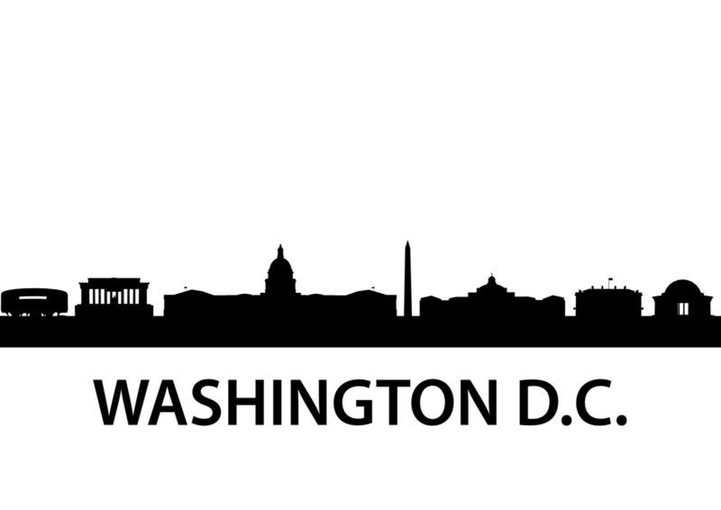 800x566 Washington Dc Skyline Silhouette Vinyl Wall Art Sticker Outline