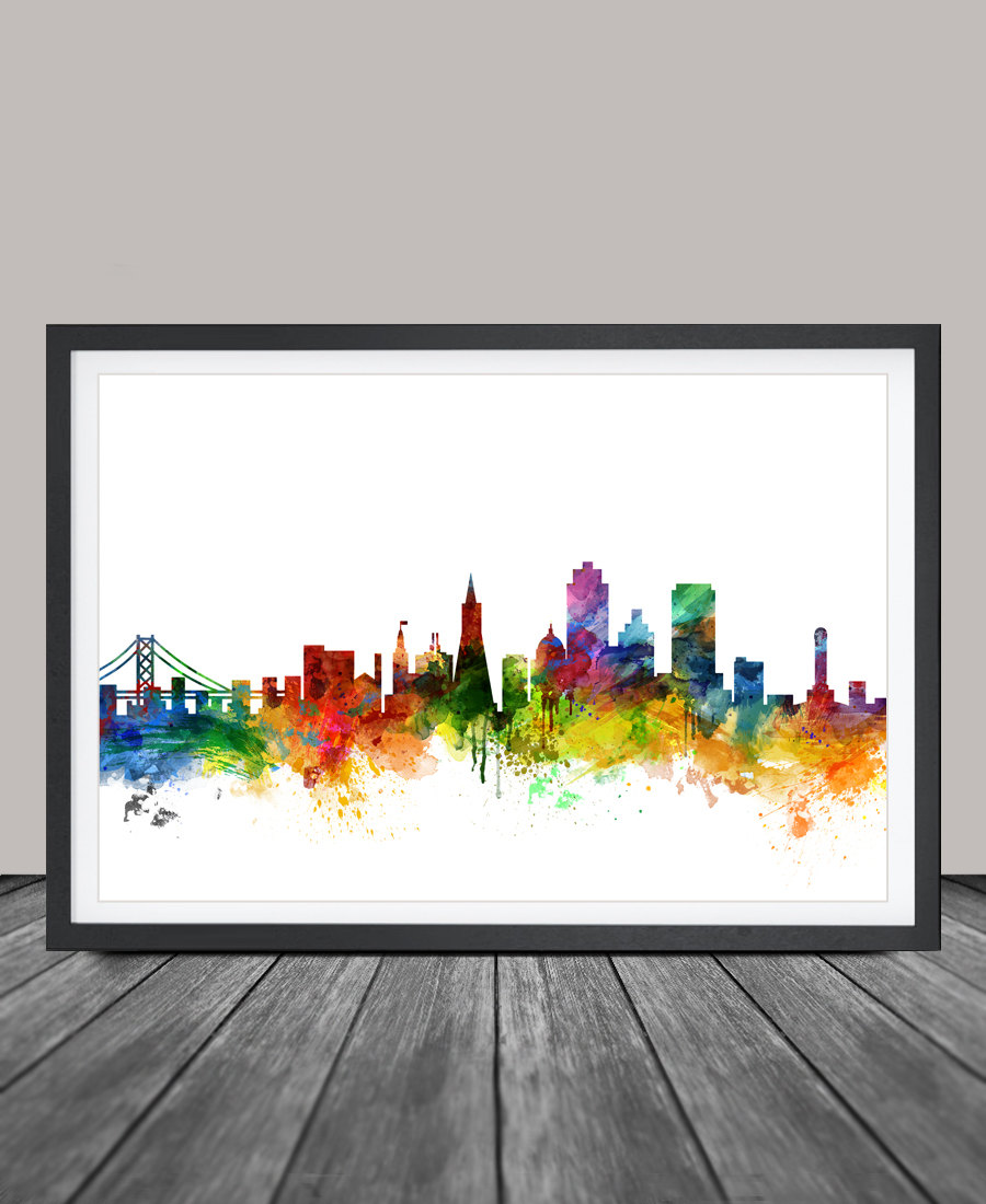 900x1100 san francisco skyline watercolor print california san etsy