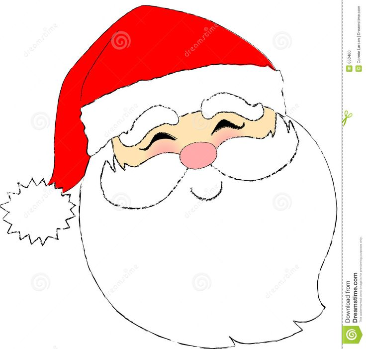 Santa simple. Claus line drawing free