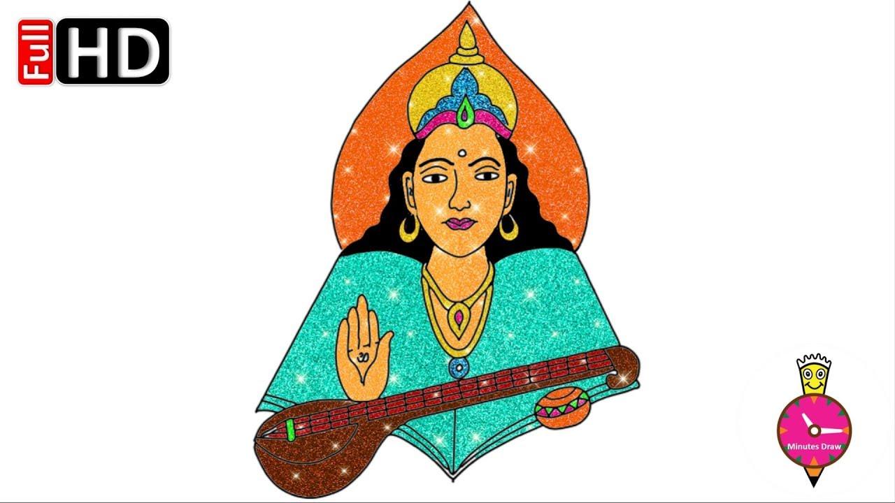 8e66a217b Saraswati Drawing | Free download best Saraswati Drawing on ...