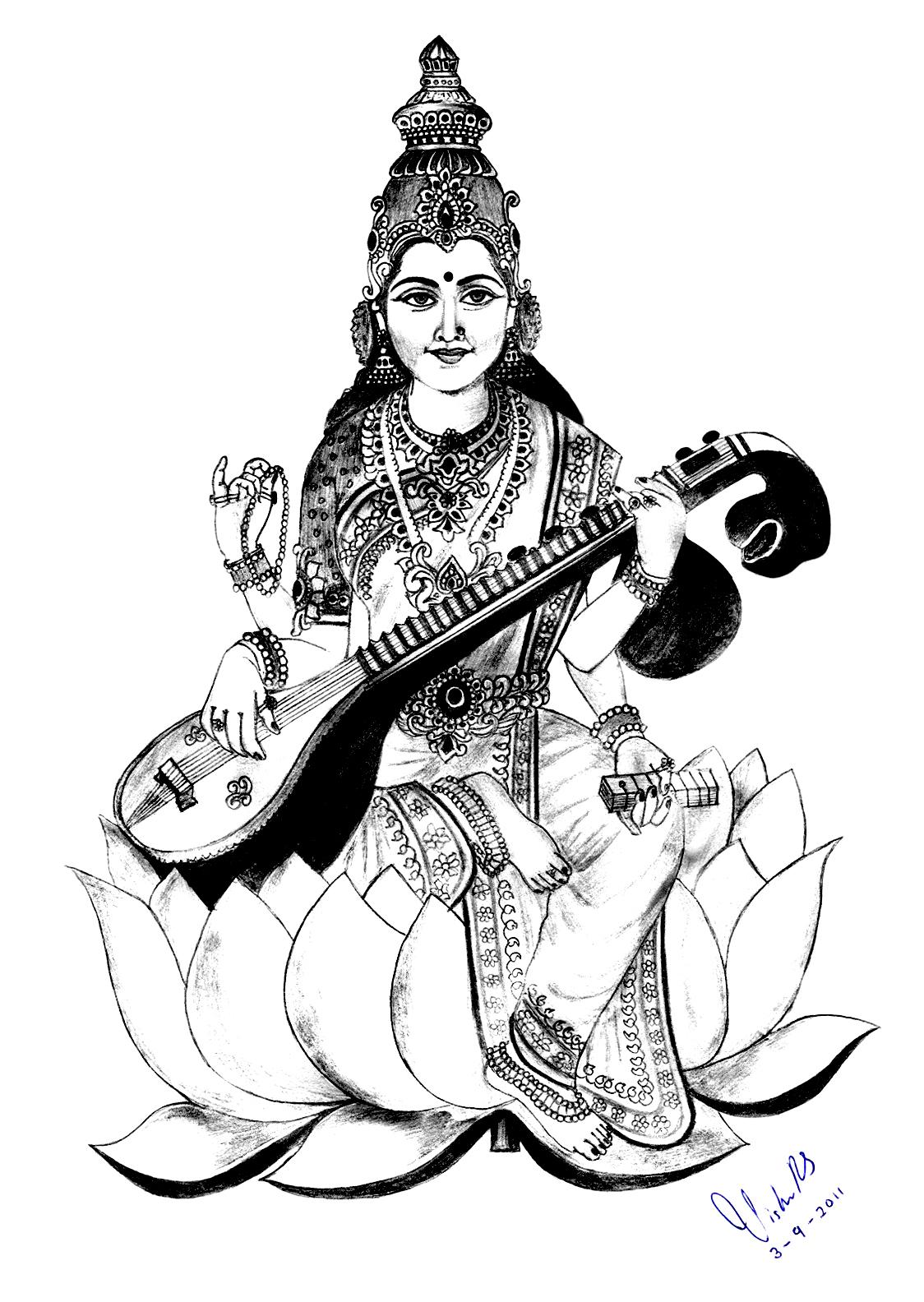 1d8023302 1124x1584 Saraswati Pencil Sketch And Saraswati Mata Sketch Saraswati