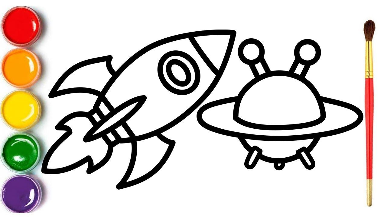 1280x720 Rocket And Flying Sauce Childrens Coloring And Drawing