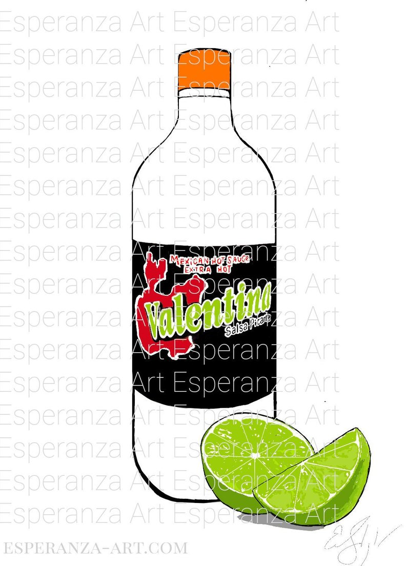 794x1104 Valentina Hot Sauce Digital Art Drawing Chile Lime Etsy