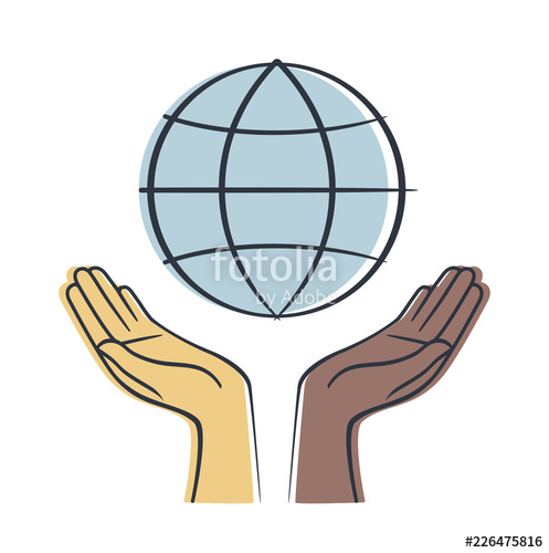 497x500 Hand Holding Earth Save Earth Concept Vectors Symbol Stock