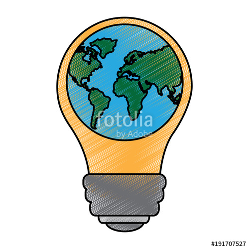 500x500 Light Bulb With Planet Earth Icon Ecology And Saving Energy Vector
