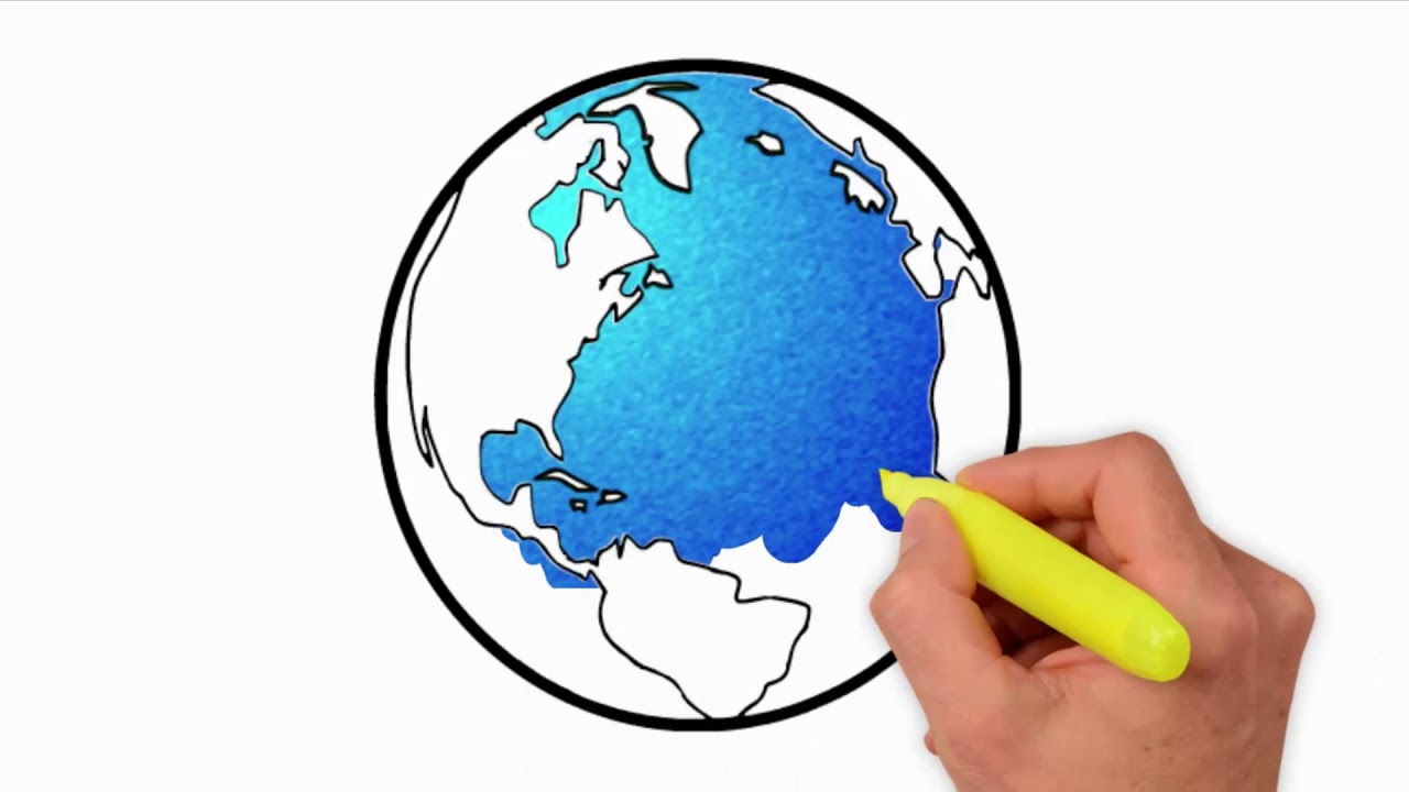 1280x720 Coloring Pages How To Draw Earth For Kids