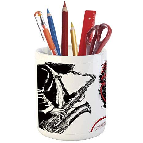 466x466 Pencil Pen Holder, Afro Decor, Printed Ceramic Pencil