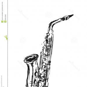 300x300 Photostock Vector Saxophone Vector Illustration Freehand Pencil