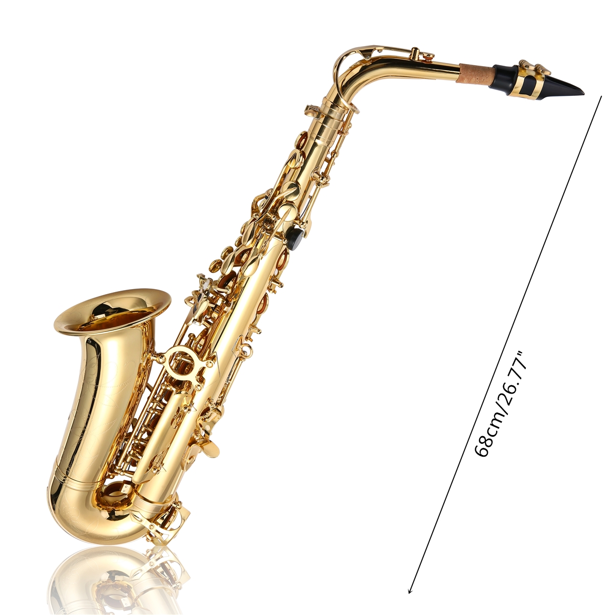 1200x1200 Jupiter Jas Gold Brass Alto Eb Tune Saxophone With Bag Clean