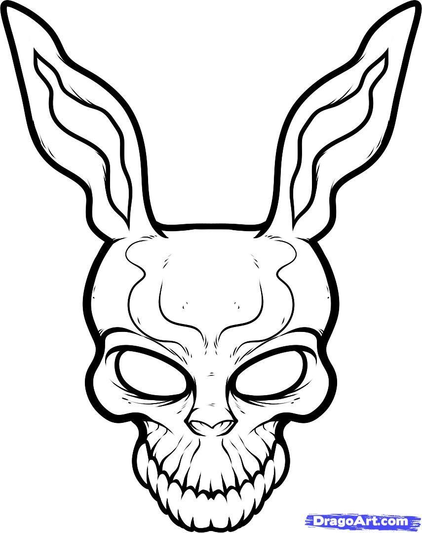 855x1079 How To Draw Frank The Rabbit, Donnie Darko, Step