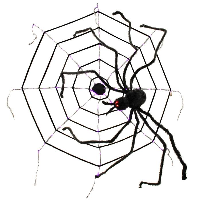 700x700 giant foot realistic scary black spider, led eyes, purple led