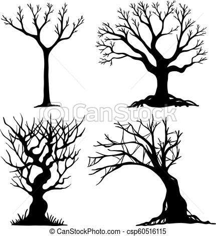 431x470 set of halloween tree dead tree from vector scary tree