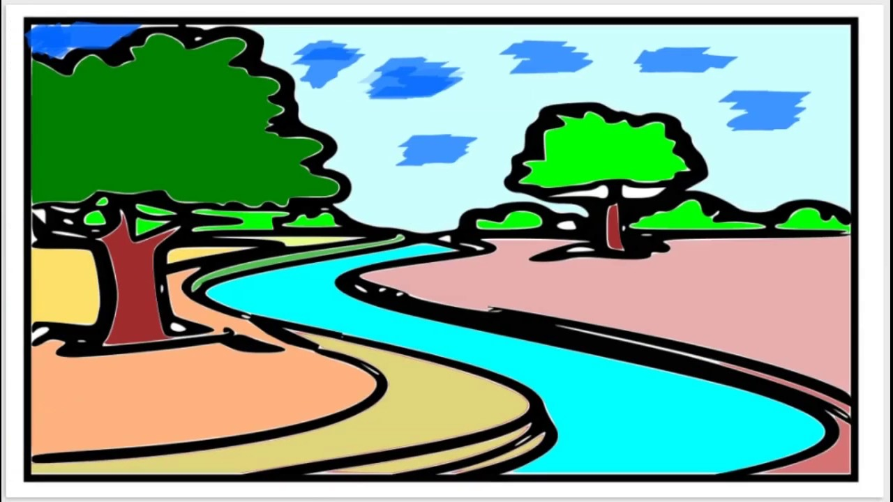 1280x720 download nice river natural scenery drawing and colouring river