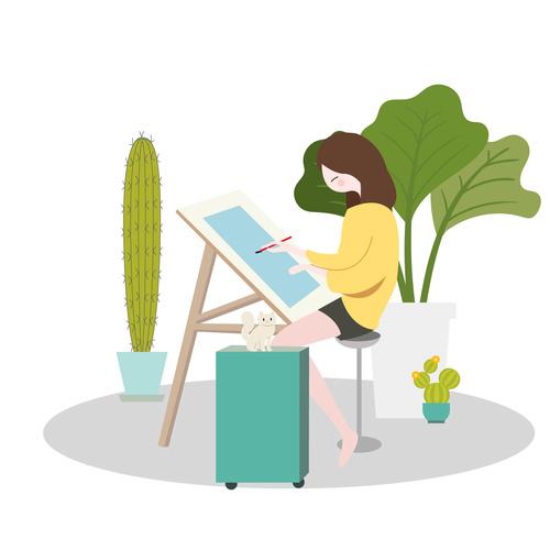 500x500 schoolgirl drawing vector free download