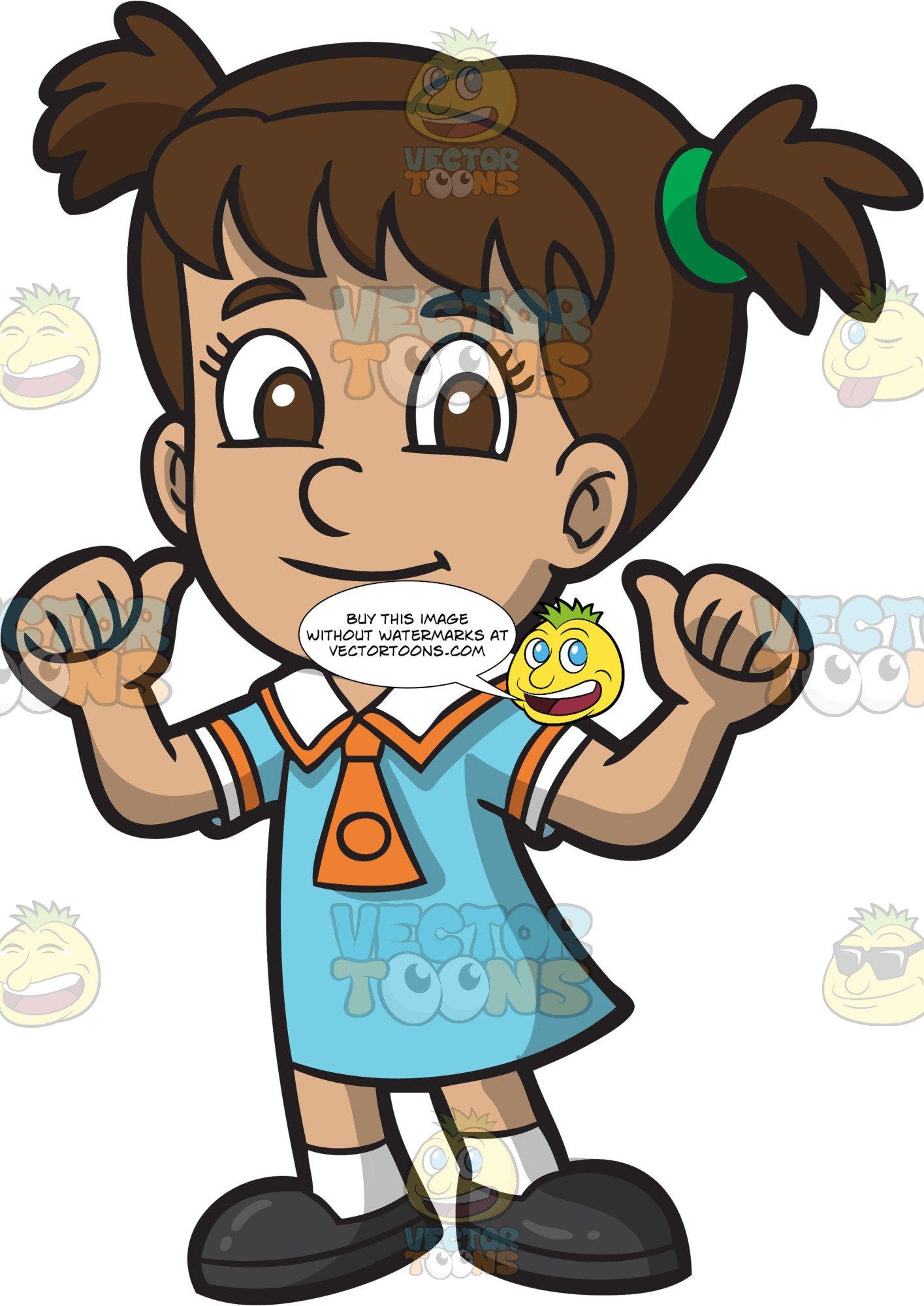 1415x2000 a confident primary school girl in her school uniform clipart