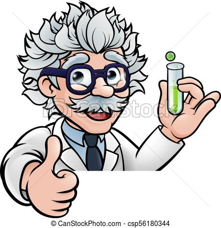 450x464 cartoon scientist holding test tube thumbs up a cartoon scientist