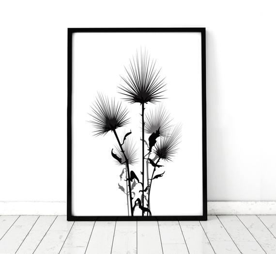 570x523 Minimal Botanical Artwork Scottish Thistle Thistle Print Etsy