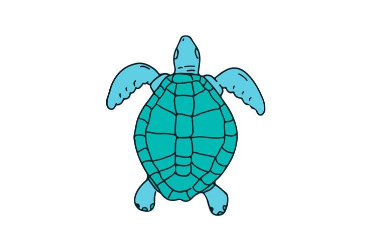 750x500 Sea Turtle Swimming Drawing
