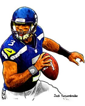 280x350 Russell Wilson Seattle Seahawks Drawing Free Image