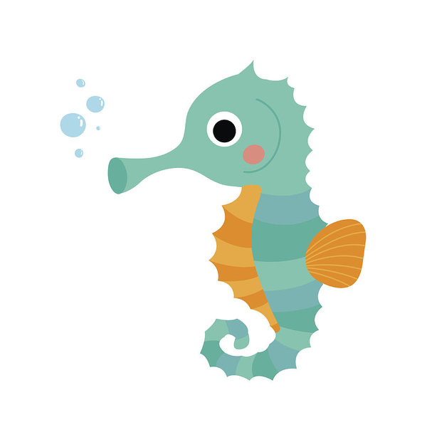 600x600 Cute Seahorse Animal Cartoon Character Vector Illustration Art