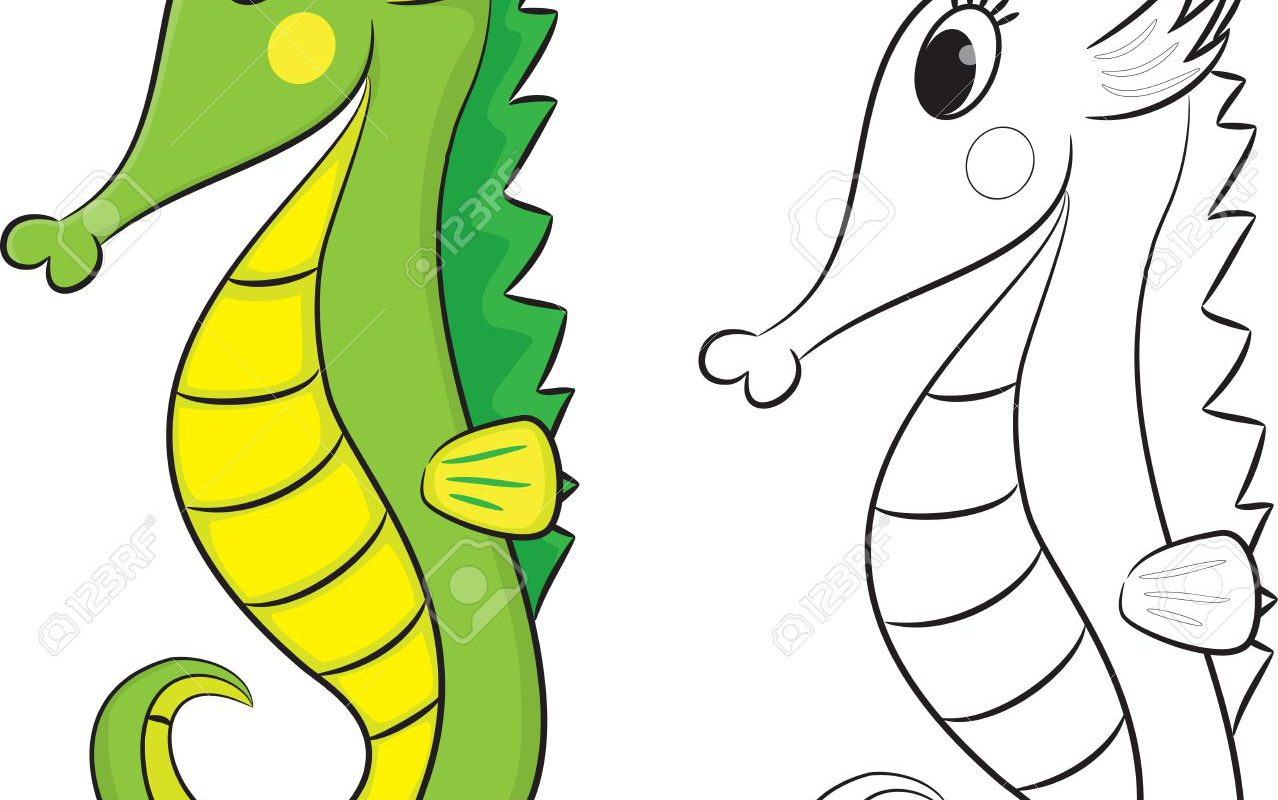 1278x800 Cartoon Seahorse Coloring Pages