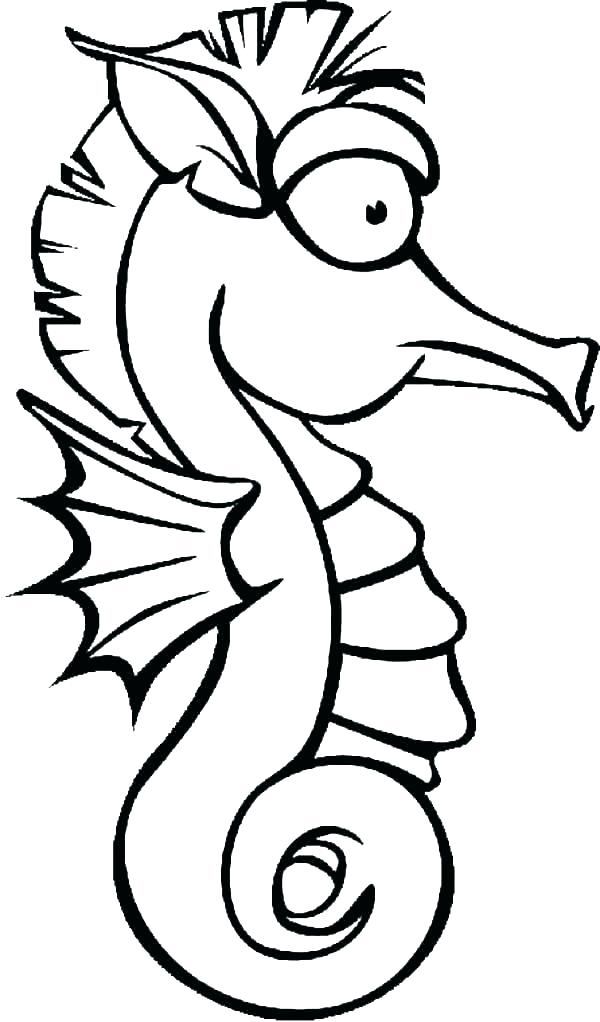 600x1022 Seahorse Outline Seahorse Shape Templates Crafts Colouring Pages