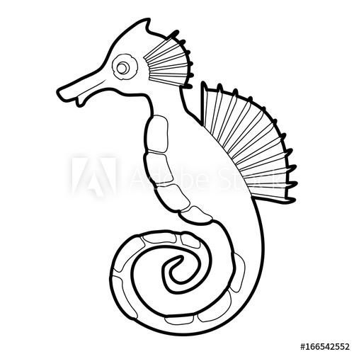 500x500 Seahorse Icon Outline