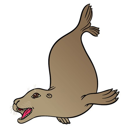 450x450 vector hand drawing eared seal