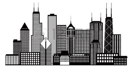 450x232 stock vector cef chicago skyline tattoo, skyline silhouette