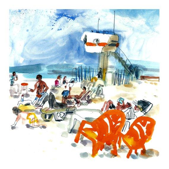 570x570 beach sketch print beach wall art beach digital print etsy
