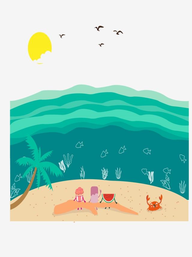 640x856 cartoon food seaside vacation hand drawing food seaside vacation