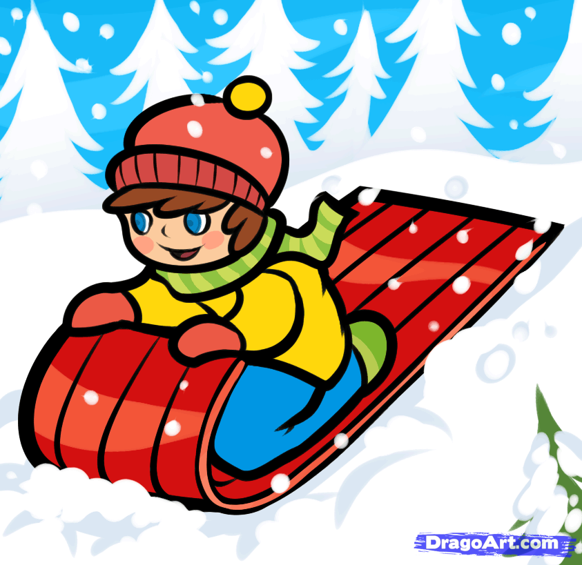 843x819 How To Draw A Snow Sled, Step
