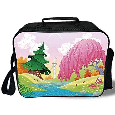 466x466 Insulated Lunch Bag, Cartoon, Fantasy Landscape