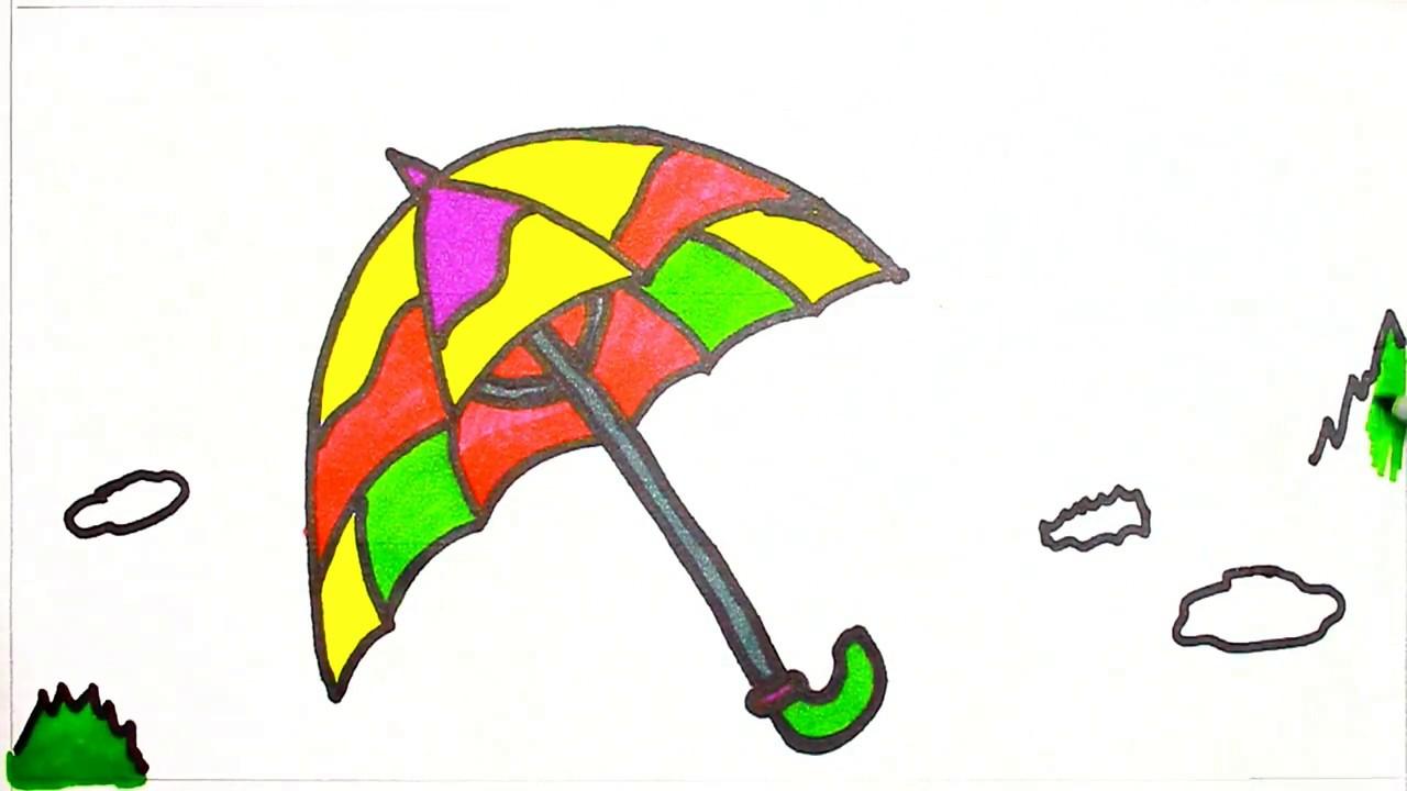 1280x720 Umbrella And Rain Coloring Draw And Colour Rainy Season