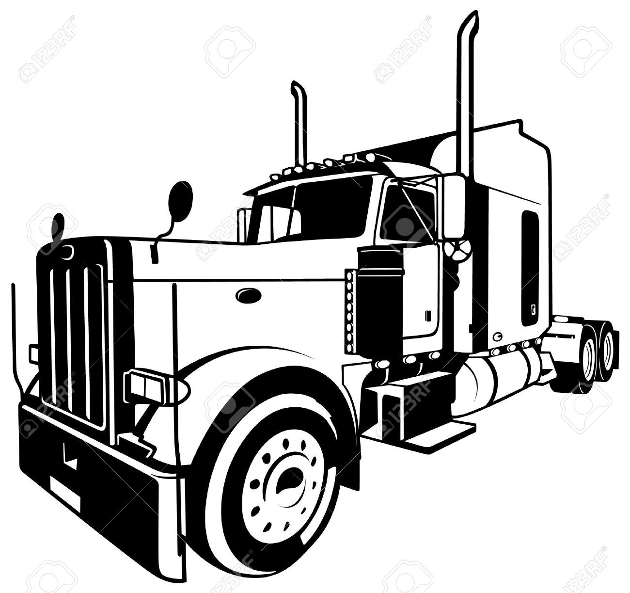 1300x1223 semi truck vector elegant semi truck clipart black and white